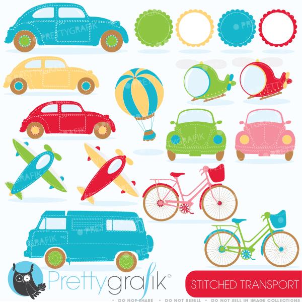 Cute Transportation Clipart.