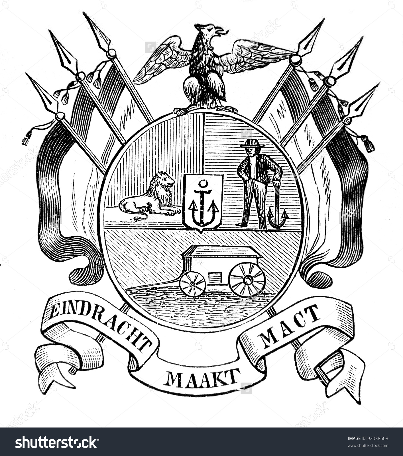 Old Coat Arms Transvaal Republic South Stock Photo 92038508.