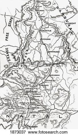 Picture of Map Of Northern Natal Circa.1900. From The Book South.
