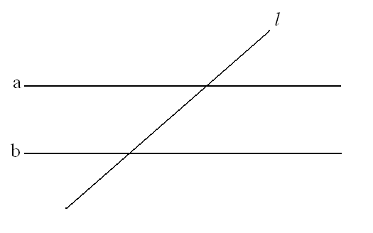 2 lines cut by a transversal.