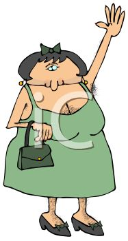 Cartoon of a Hairy Transvestite Dressed Up as a Woman.