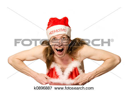 Picture of Funny christmas man doing striptease as transvestite.