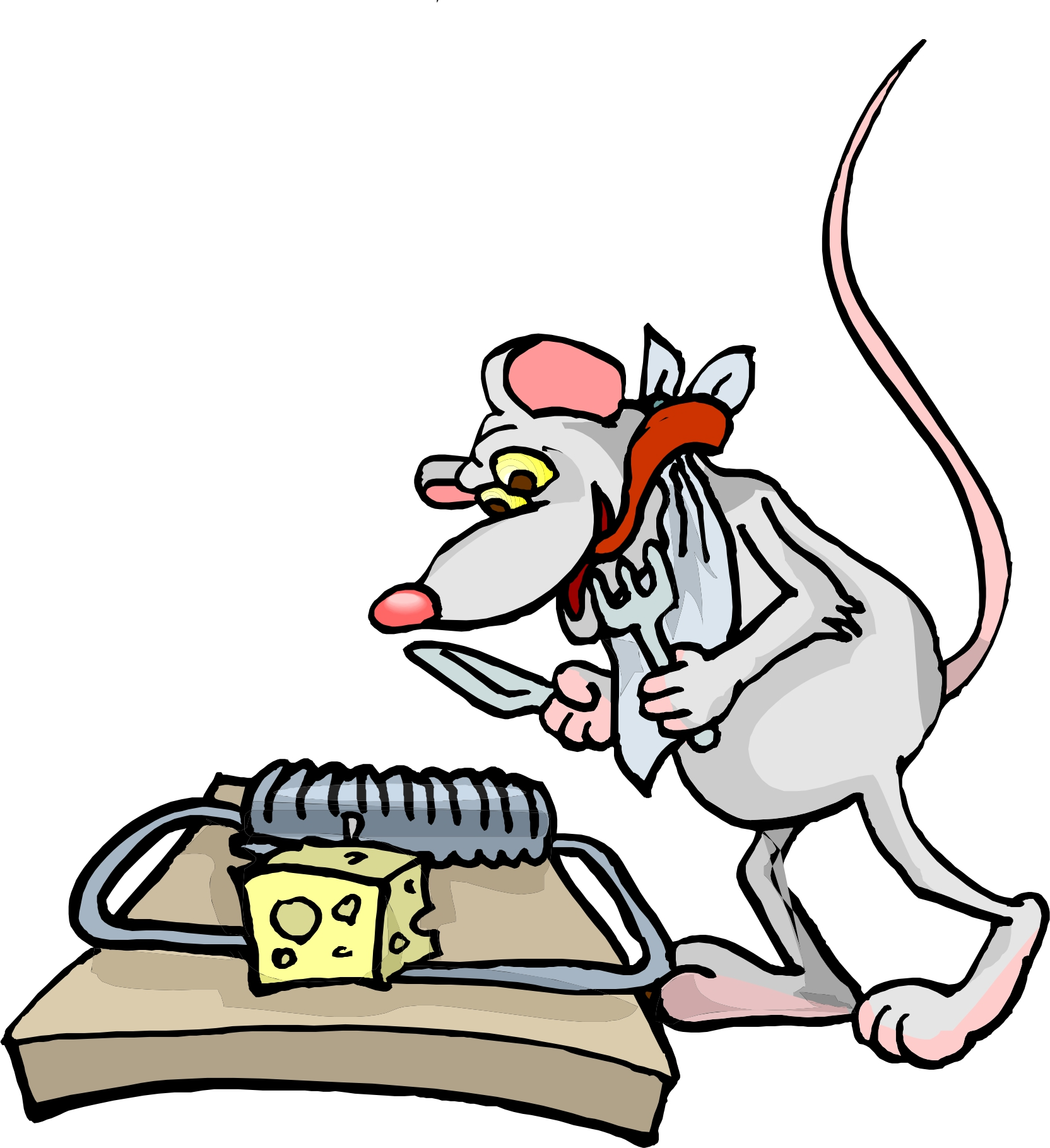Rat in trap clipart.