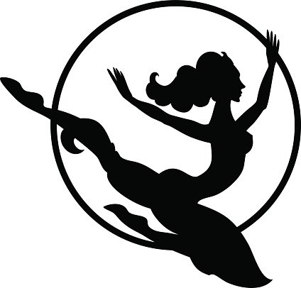 silhouette of trapeze artist with hoop Clipart Image.