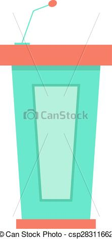 Clip Art Vector of green trapezoidal tribune icon with microphone.