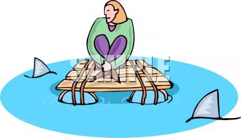 Cartoon of a Woman Trapped on a Raft with Sharks Circling.
