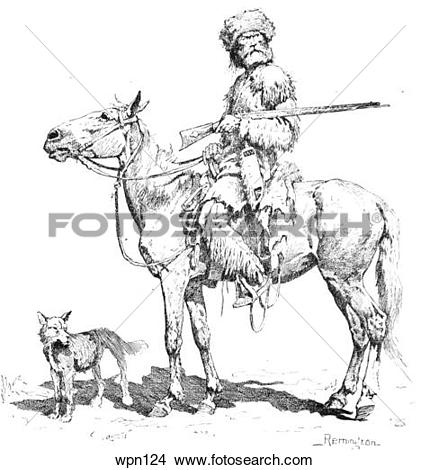 Drawings of An Old Trapper, With Dog and Rifle. Illustration by.