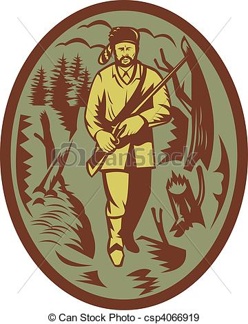 Stock Illustration of pioneer hunter trapper with rifle.