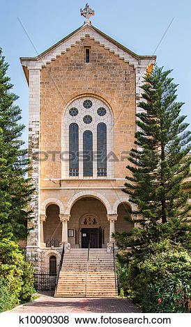 Pictures of Facade of an ancient trappist monastery, Latrun.