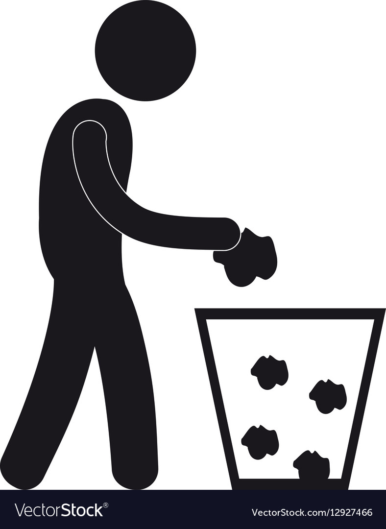 Man throwing trash can pictogram.