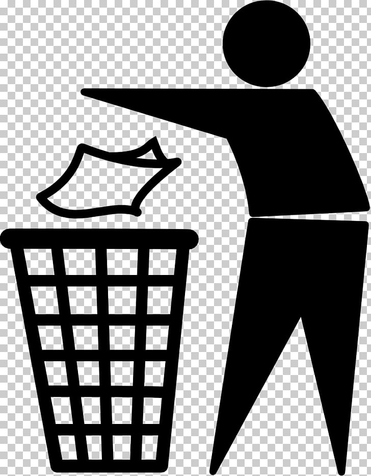 Tidy man Logo , trash, person near the basket illustration.