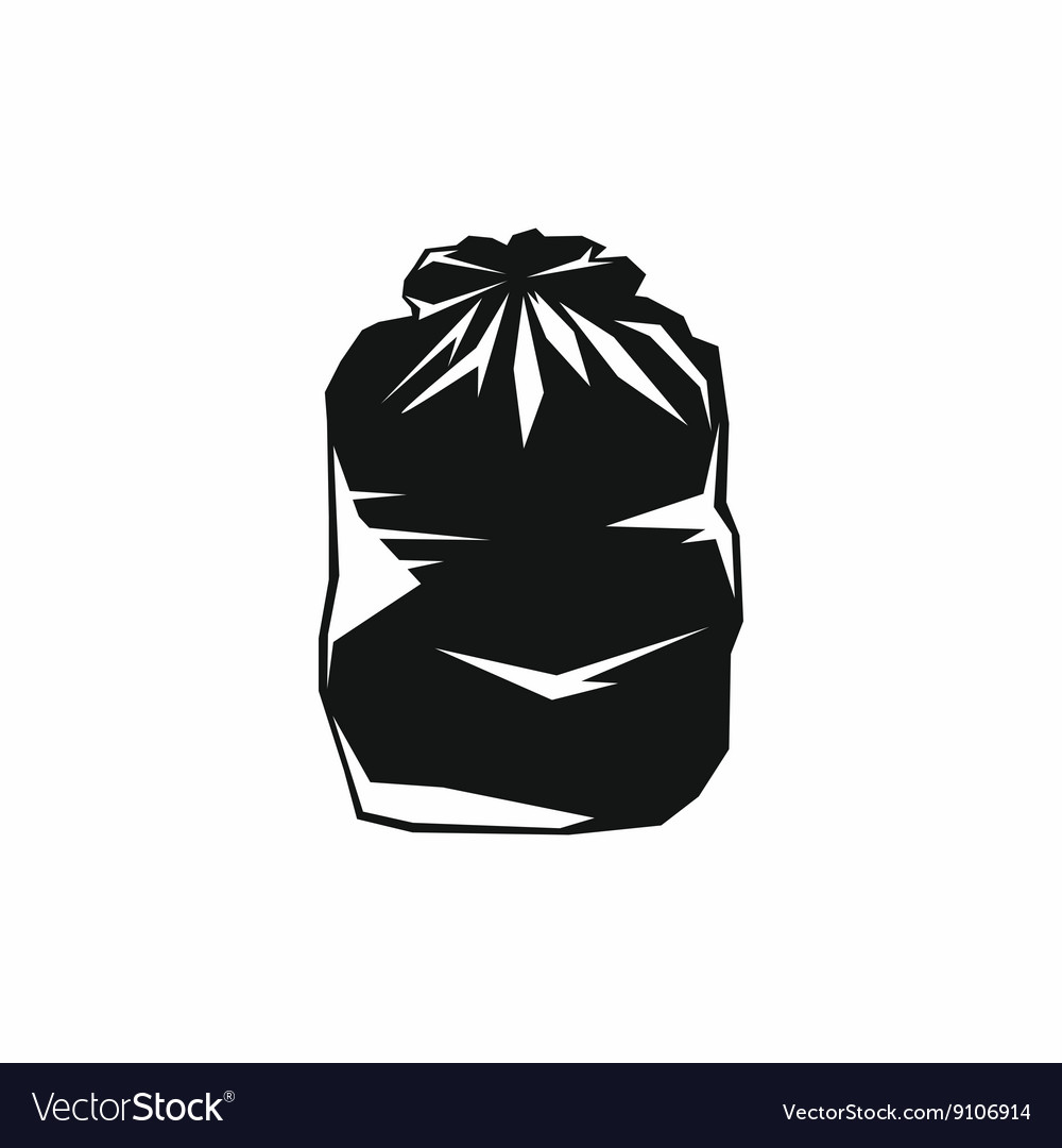 Black trash bag icon simple style.