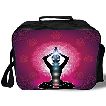 Amazon.com: Insulated Lunch Bag, Chakra Decor, Maroon.