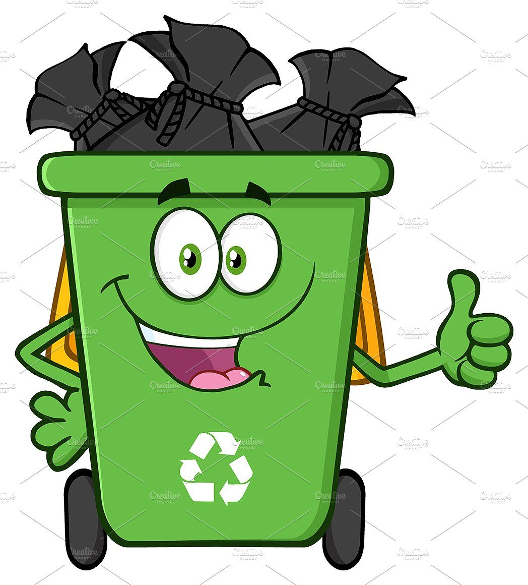Green Recycle Bin Full With Garbage #Character#Mascot.