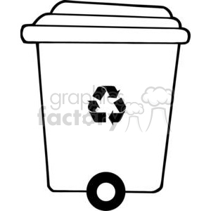 Recycle trash can clipart. Royalty.
