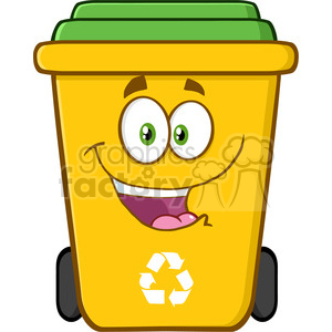 royalty free rf clipart illustration happy yellow recycle bin cartoon  character vector illustration isolated on white background . Royalty.