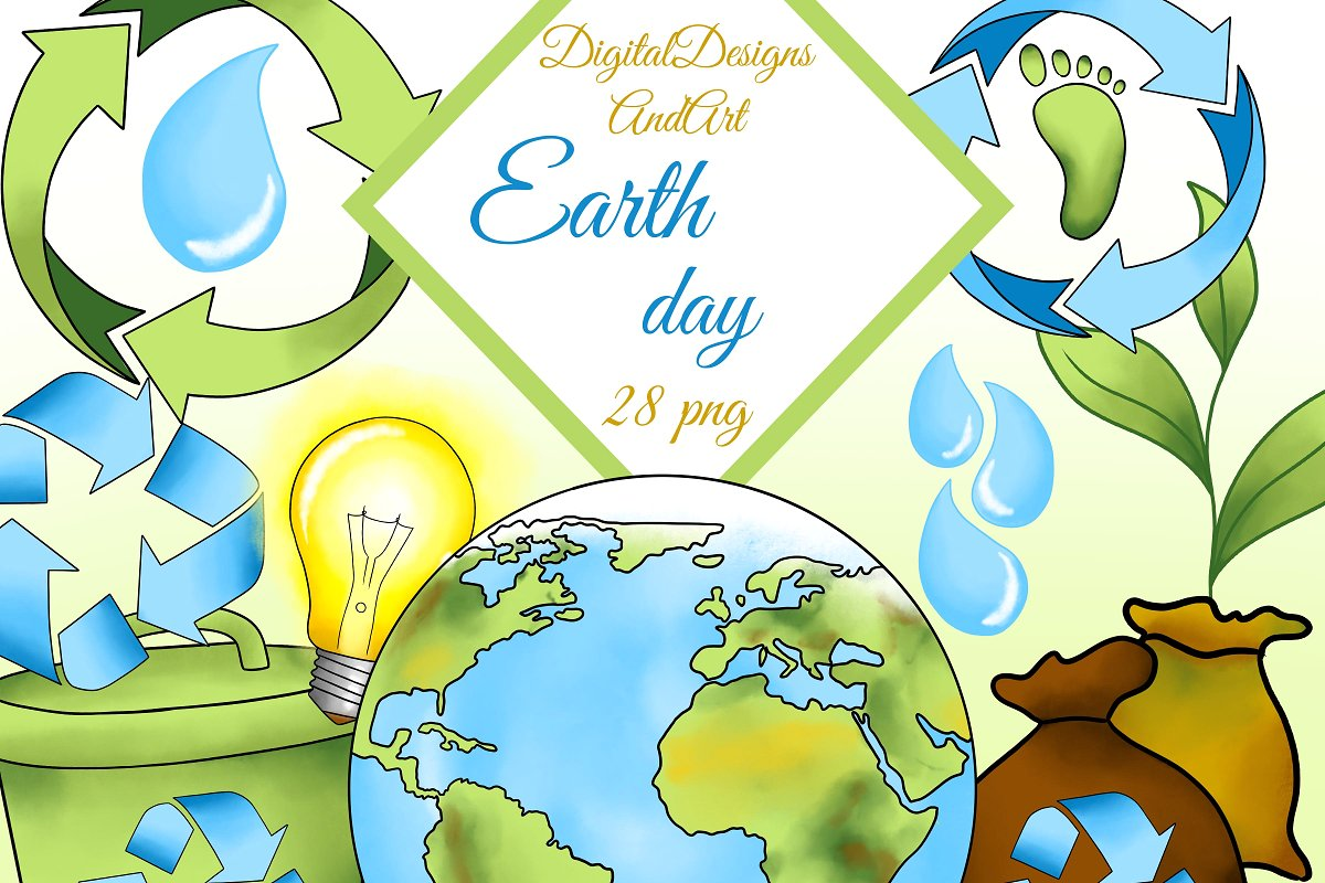 Earth day clipart ~ Illustrations ~ Creative Market.