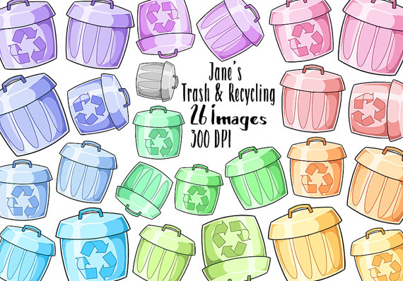 Kawaii Trash and Recycling Clipart.