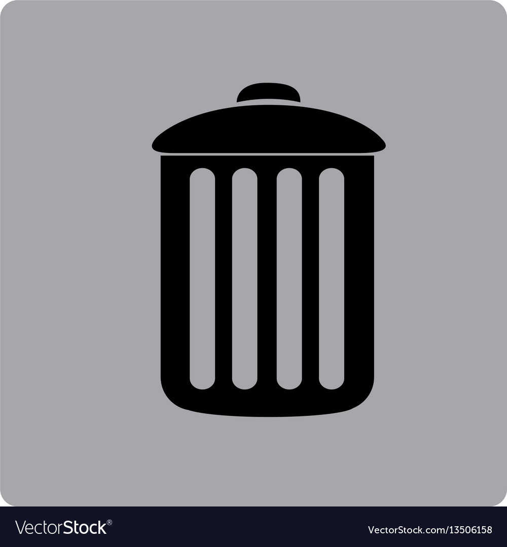 Figure emblem metal trash can icon.