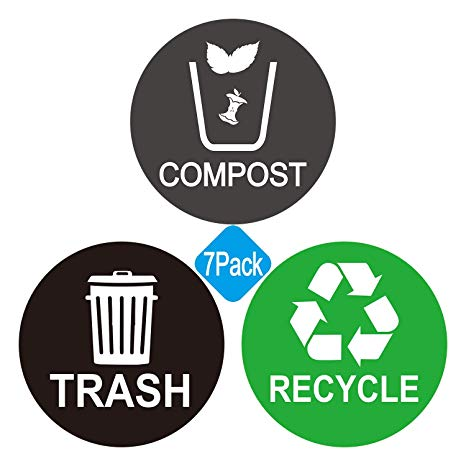 Recycle and Trash bin Logo Stickers.