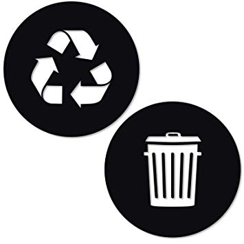 Recycle and Trash Sticker Logo Style 2 (8.25in x8.25in) Symbol to Organize  Trash cans or Garbage containers and Walls.