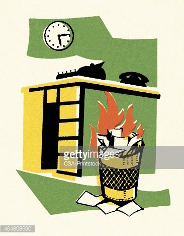 Trash Can on Fire by Desk Clipart Image.