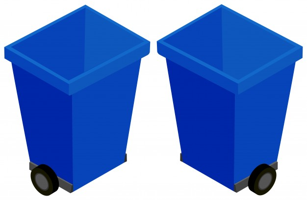 3d design for trashcan with wheels Vector.