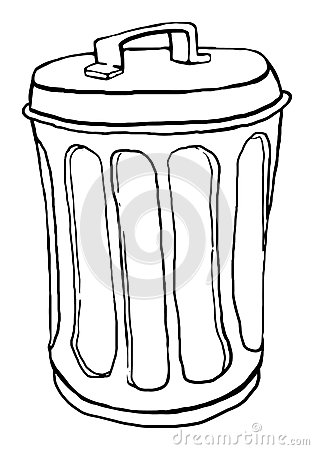 Outline Trash Can Stock Vector.