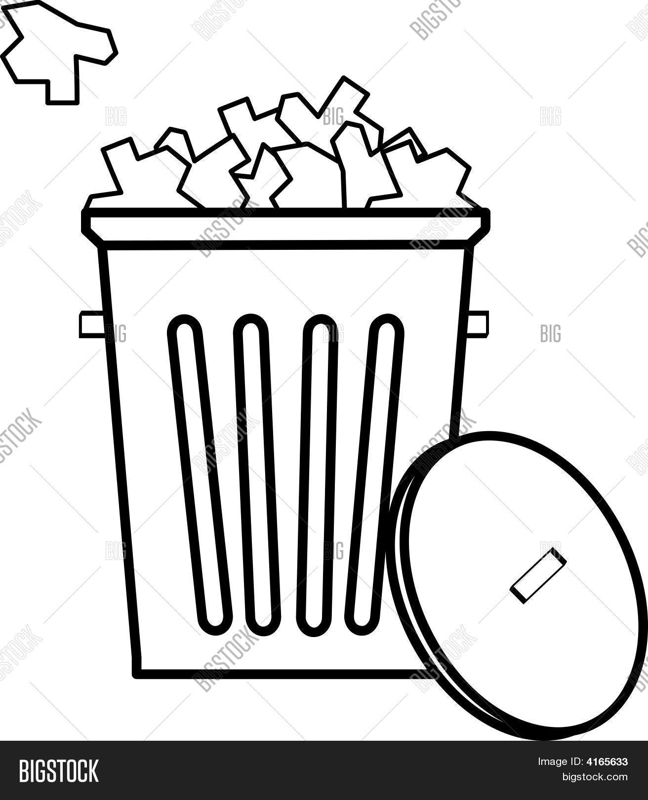 Outline Of Garbage Can Full With Garbage. Stock Vector & Stock.