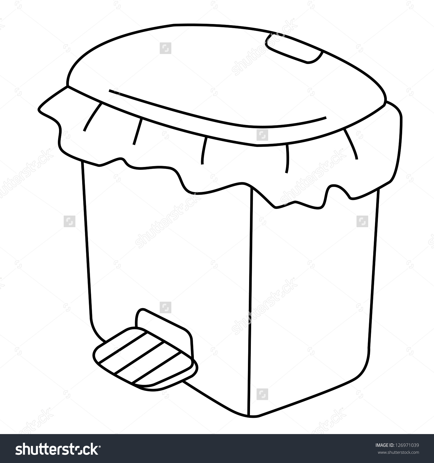 Outline Garbage Can Recycle Bin On Stock Vector 126971039.