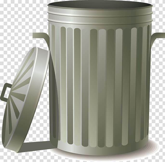 Silver trash bin, Food waste Food storage , trash can.