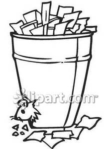Black and White Rat In A Trash Can.