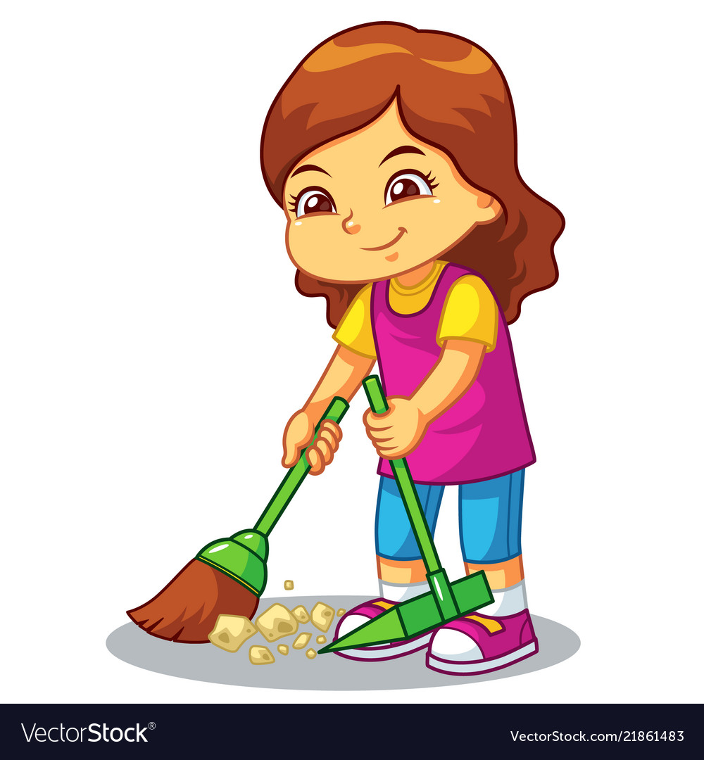Girl clean up garbage with broom and dust pan.
