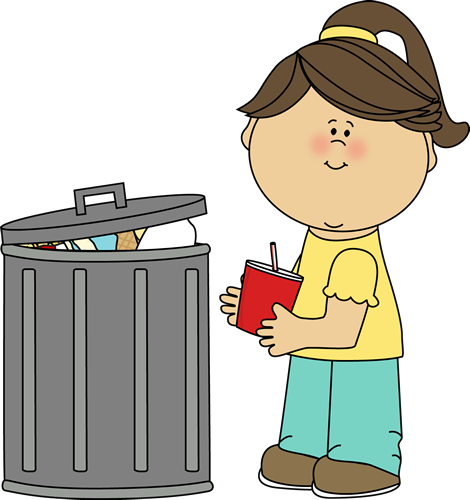 Girl Picking Up Trash Clip Art.