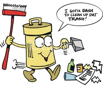 Vector Cartoon of Smiling Trash Can Cleaning UP Rubbish.