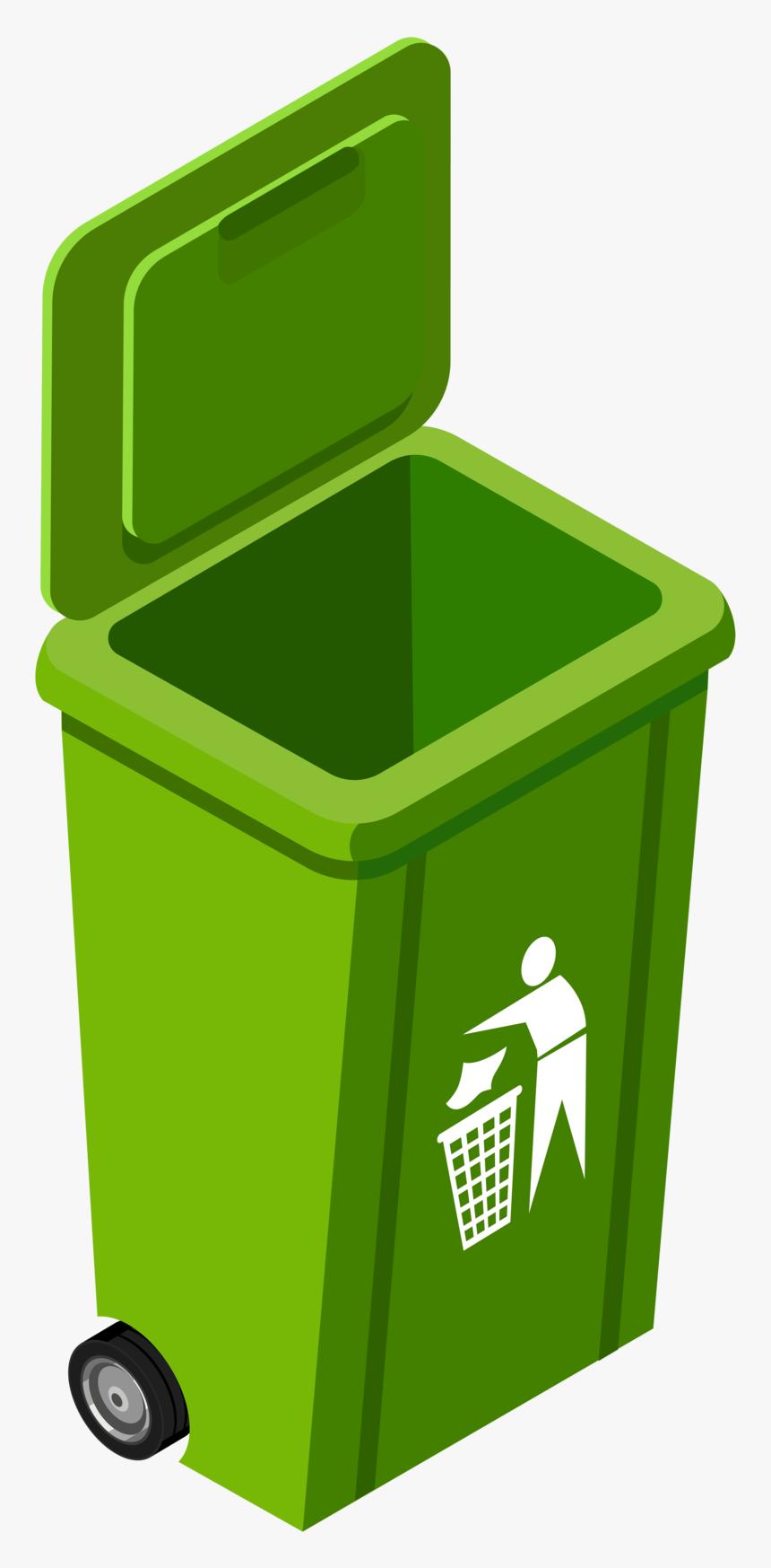 Green Trash Can Image.