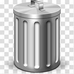 Trash Can Icon, gray trash bin transparent background PNG.