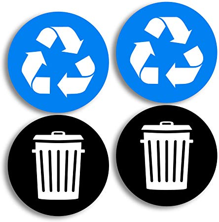 Recycle and Trash Logo Stickers (4 Pack) 4in x 4in.