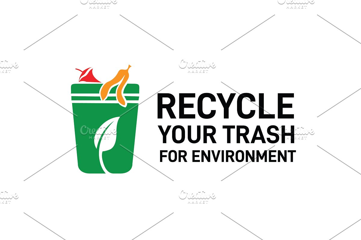 Recycle bin green trash logo design.