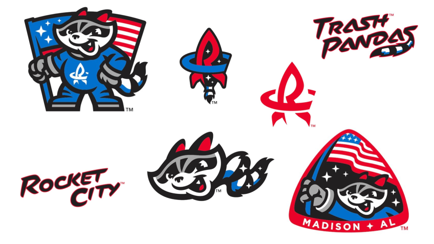 Rocket City Trash Pandas Logos.