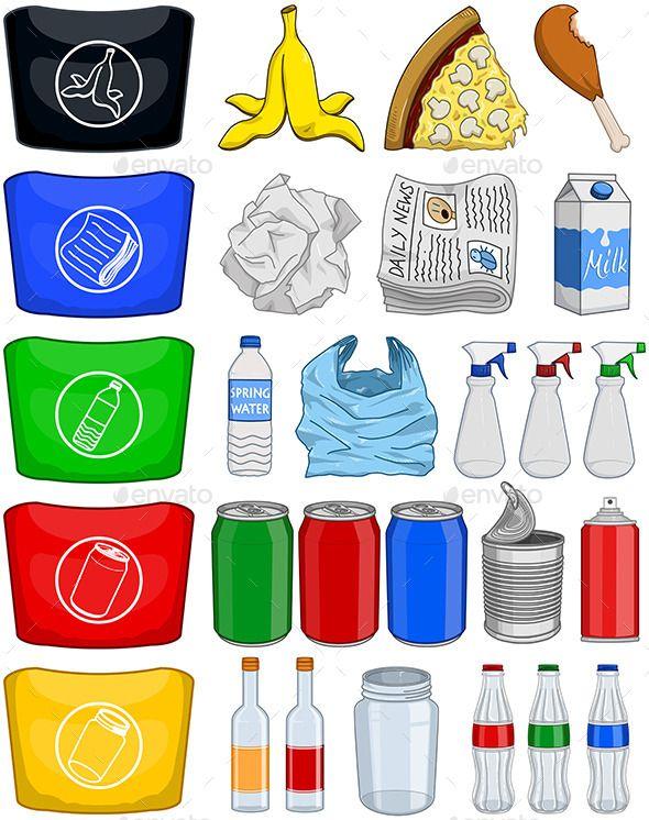 Vector illustration pack of organic paper plastic aluminium.