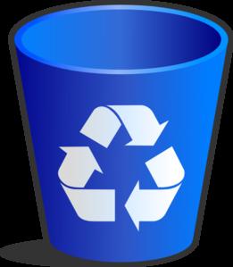 Blue trash bin clipart.