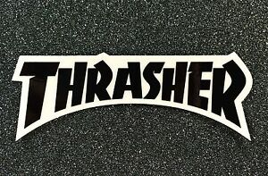 Details about Thrasher Logo Skateboard sticker 5.5in black si.