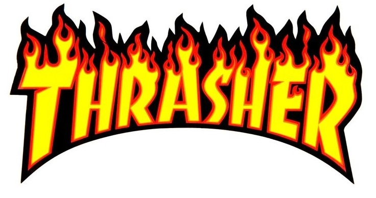 THRASHER FLAME LOGO LARGE STICKER.