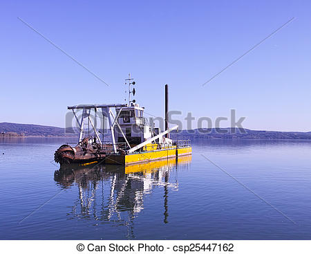 Stock Image of dredging boat.
