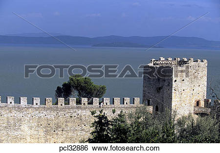 Stock Images of Lake Trasimeno Castello Del Leone Castle At.