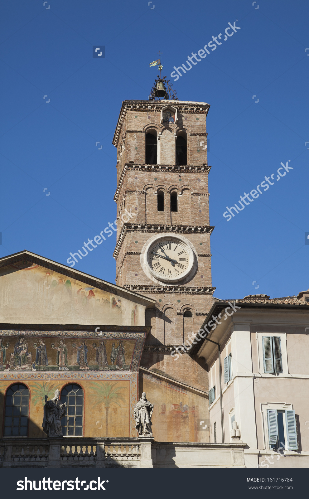 Clock Tower On The Basilica Di Santa Maria In Trastevere, Rome.