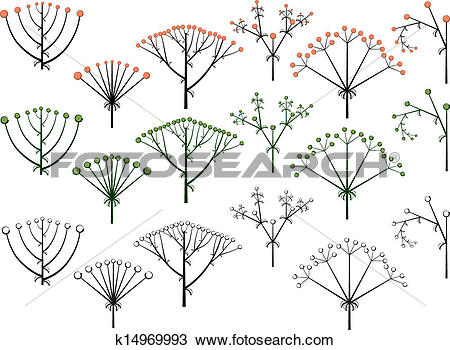 Clipart of Set types of inflorescence. k14969993.