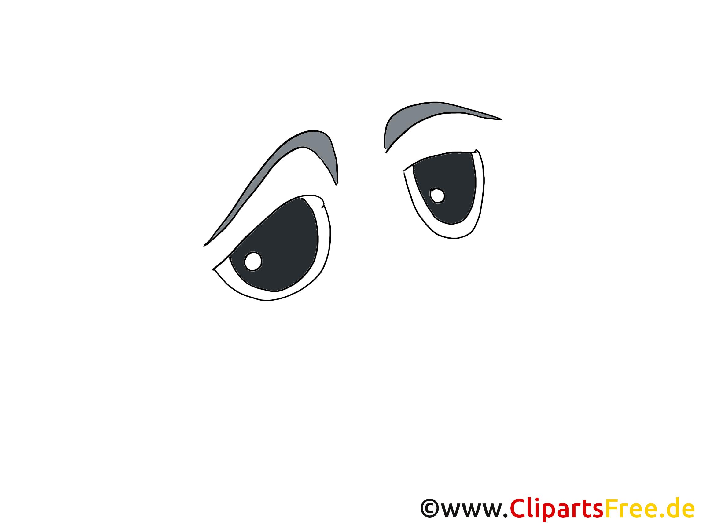 Traurige Comic Augen Clipart, Bild, Zeichnung, Grafik.