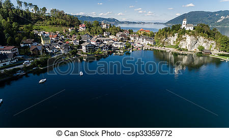 Picture of Traunsee summer lake (Austria). Aerial view.